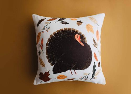 Primitive Turkey Lumbar Throw Pillow