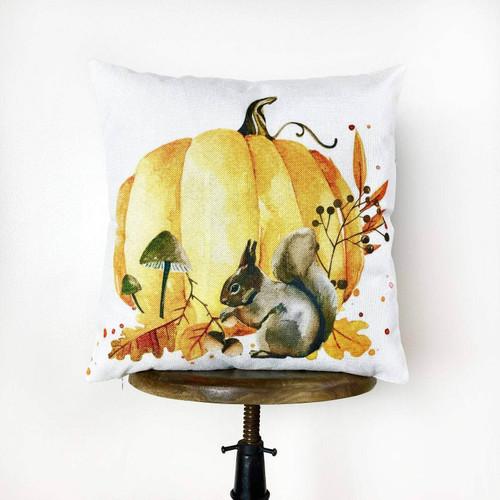 Watercolor Squirrel & Pumpkin Throw Pillow