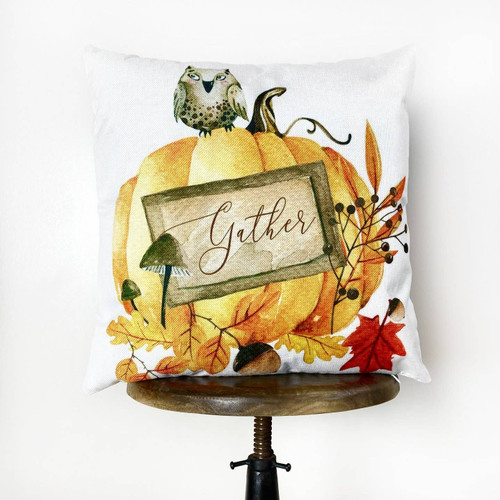 Watercolor Owl & Pumpkin Throw Pillow