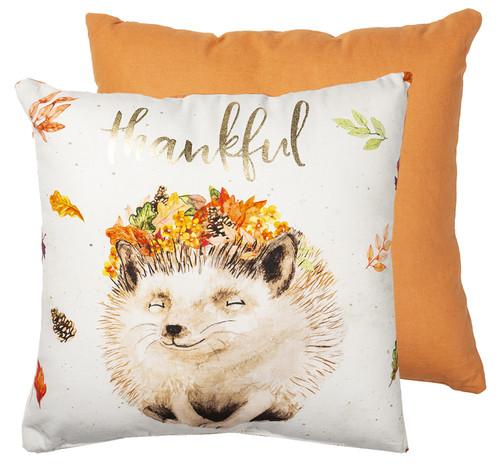 Thankful Hedgehog Throw Pillow