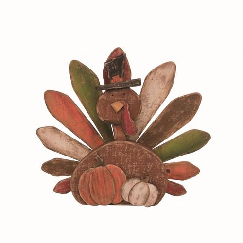 Brown Wood Turkey Décor