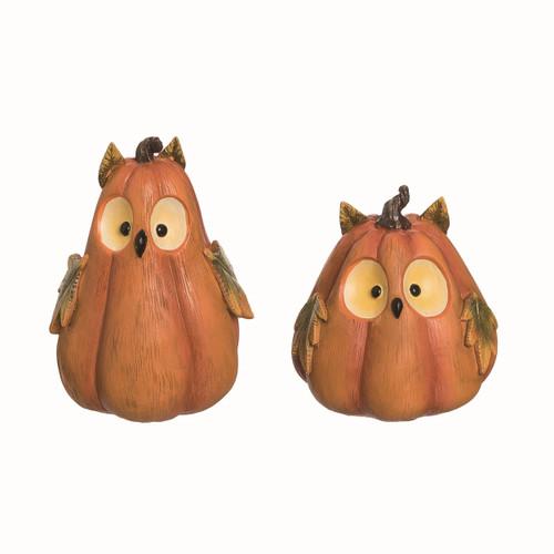 Pumpkin Owl Figurine Set