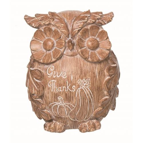 Wood-Carved Look Owl Figurine