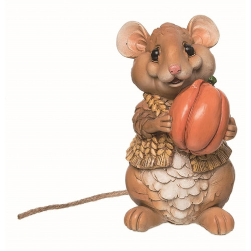 Mouse with Pumpkin Figurine