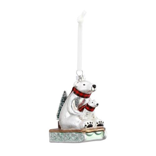 Blown Glass Polar Bear Ornament