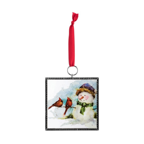 Cardinals & Snowman Framed Glass Ornament