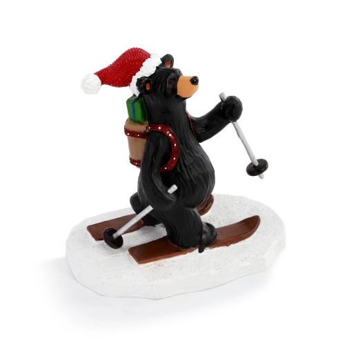 Black Bear On Skis Figurine