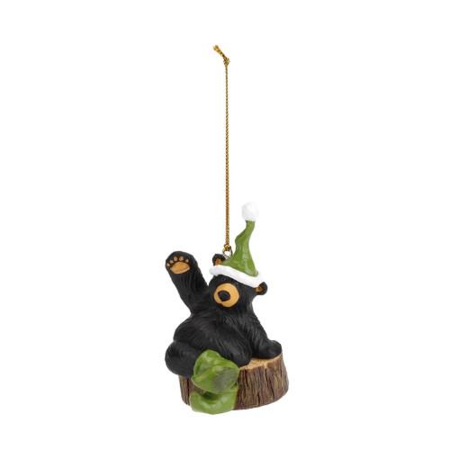 Black Bear with Elf Hat Ornament