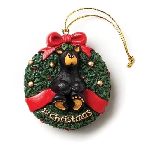 Black Bear in Wreath - 1st Christmas Ornament