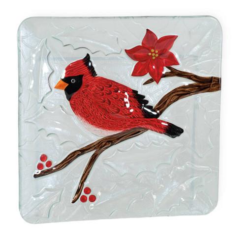 Christmas Cardinal Glass Plate