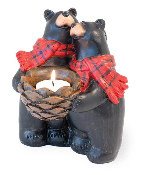 Black Bear Couple Tealight Candle Holder