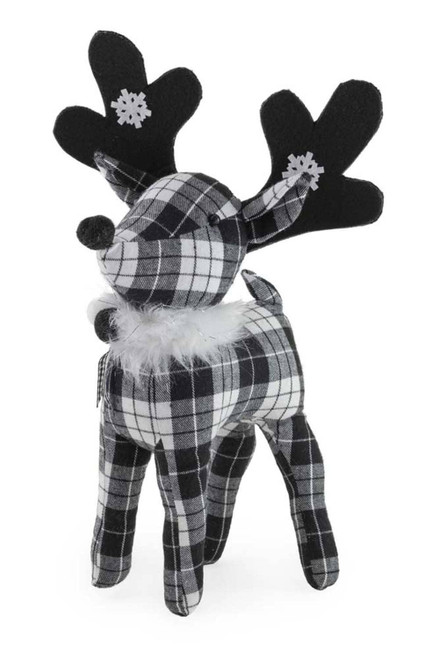 Black & White Deer Christmas Accent, Large