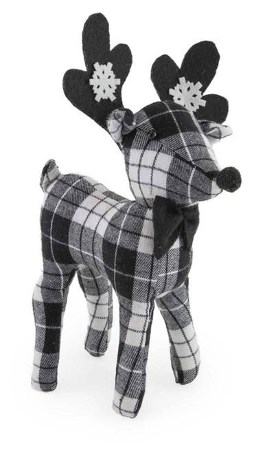 Black & White Plaid Deer Christmas Accent