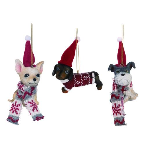 Holiday Dog Ornament Set of 3
