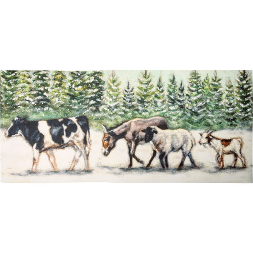 Winter Farm Animals Area Rug