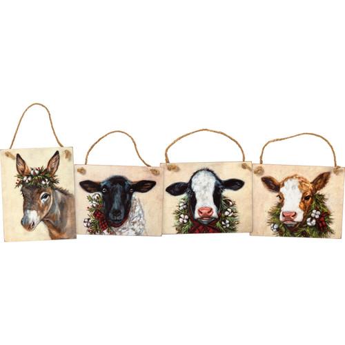 Farm Animal Ornament Set