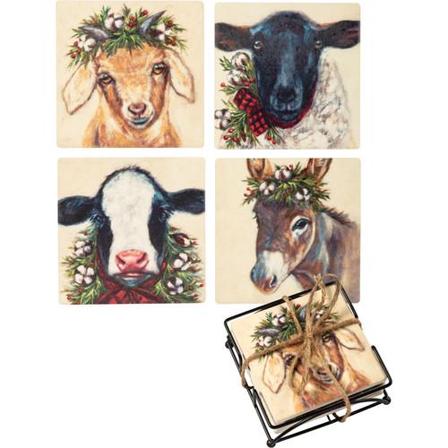 Farm Animal Christmas Coaster Set