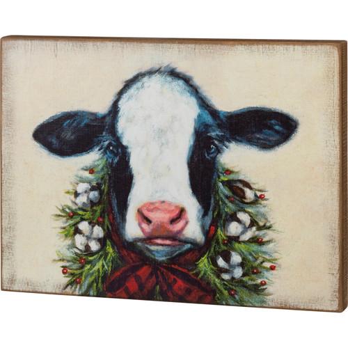 Calf Christmas Wood Block Art