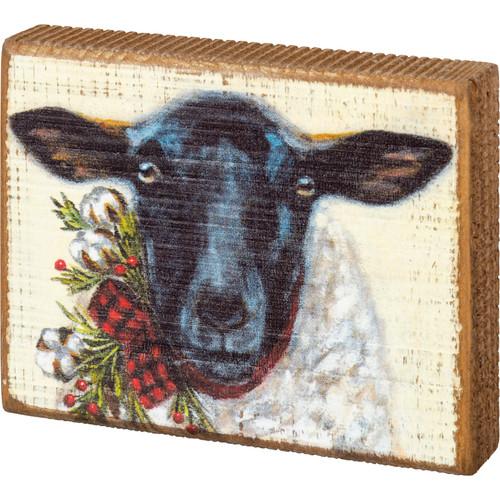 Sheep Christmas Wood Block Art