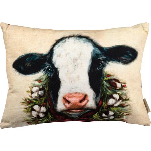 Calf Christmas Throw Pillow