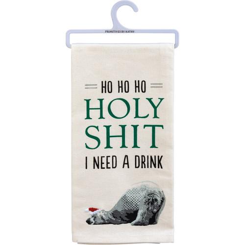 Ho Ho Ho I Need A Drink - Polar Bear Kitchen Towel
