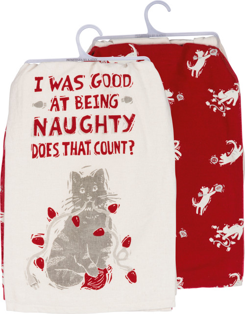 Good At Being Naughty - Cat Christmas Kitchen Towel Set