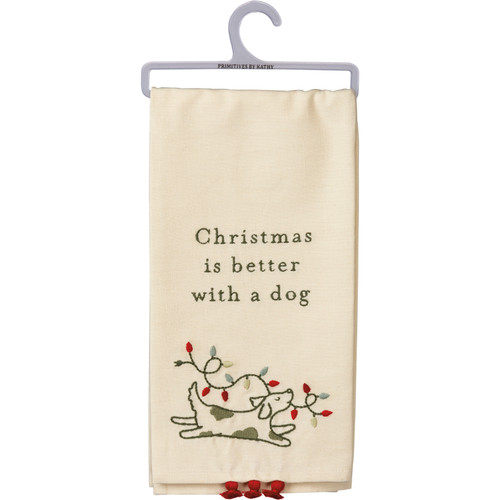 Christmas Is Better With a Dog -  Kitchen Towel
