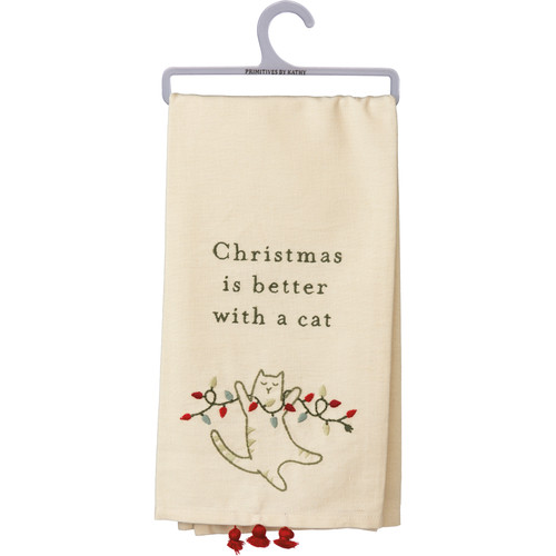 Christmas Is Better With A Cat - Kitchen Towel