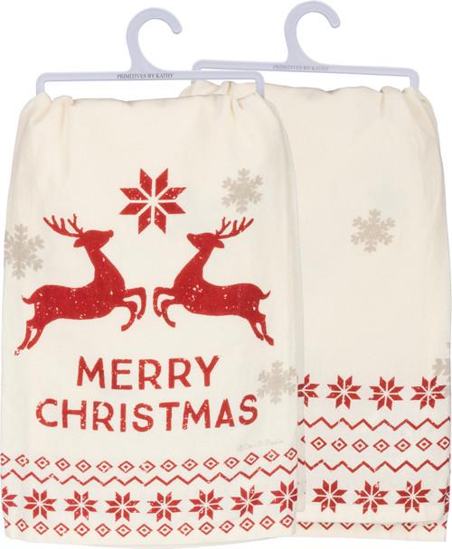 Merry Christmas  - Scandinavian Reindeer Kitchen Towel