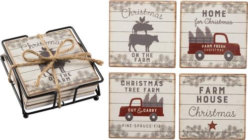 Farmhouse Christmas Coaster Set