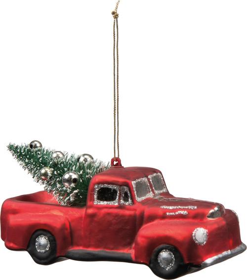 Glass Red Farm Truck Ornament