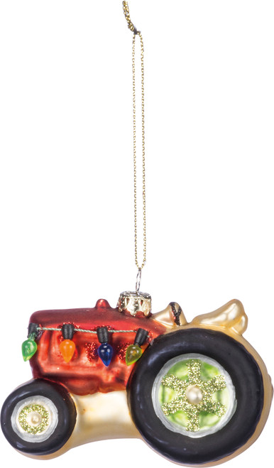 Glass Red Tractor Ornament