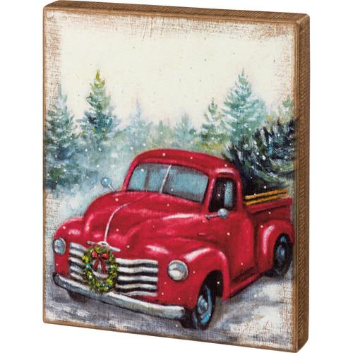 Christmas Red Farm Truck Wood Block Art