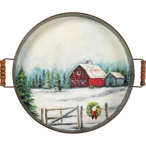 Red Barn Christmas Decorative Tray