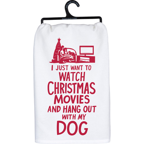 Watch Christmas Movies & Hang With Dog - Kitchen Towel