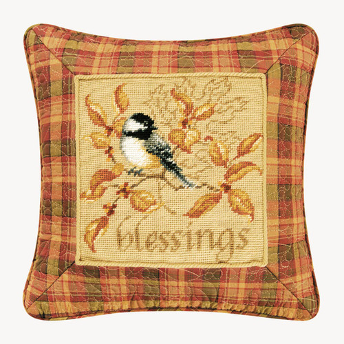 Chickadee Blessings Needlepoint Throw Pillow