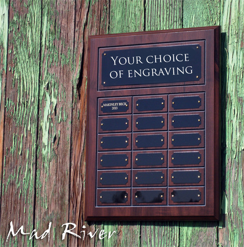 18 Plate Cherry Finish Perpetual Plaque - Free Engraving