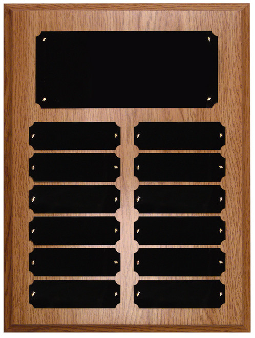 12 Plate Oak Finish Perpetual Plaque - Free Engraving