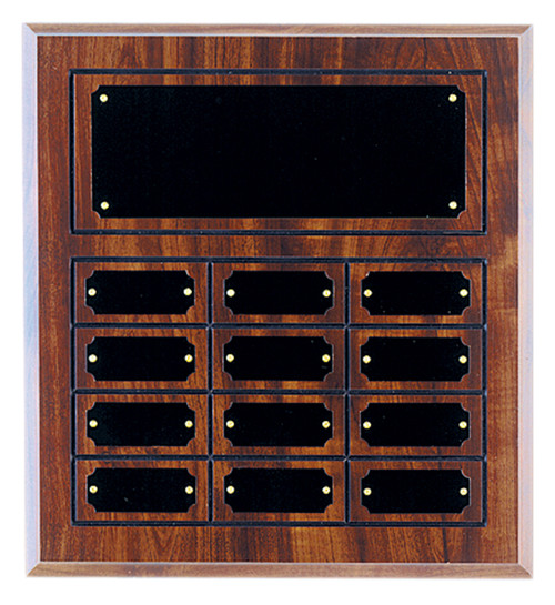 12 Plate Cherry Finish Perpetual Plaque - Free Engraving