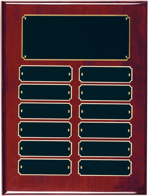 12 Plate Rosewood Piano Finish Perpetual Plaque - Free Engraving
