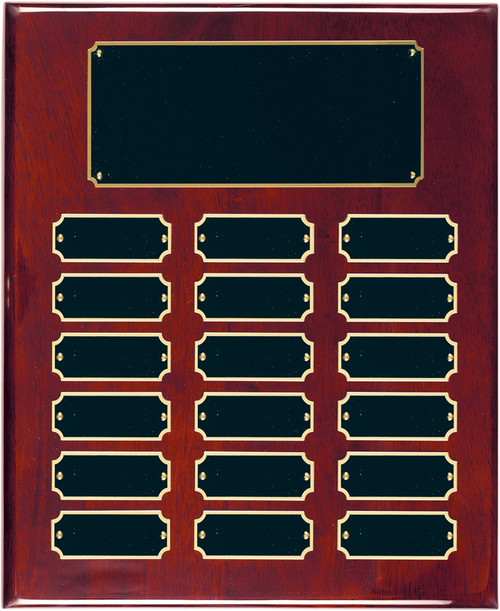18 Plate Rosewood Piano Finish Perpetual Plaque - Free Engraving