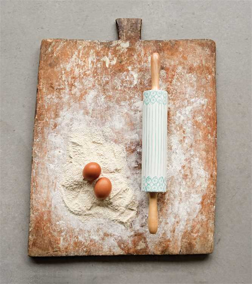 """17-3/4""""L STONEWARE HAND-PAINTED ROLLING PIN W/ BAMBOO HANDLES"""