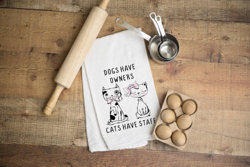 Cats have Staff Flour Sack Dish Towel