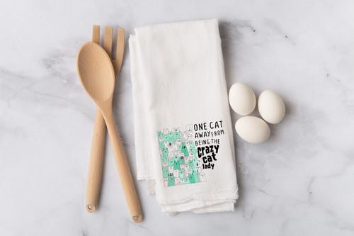 One Cat Away Flour Sack Dish Towel