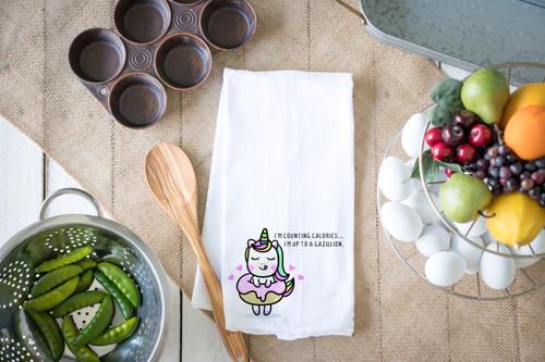 Counting Calories Flour Sack Dish Towel