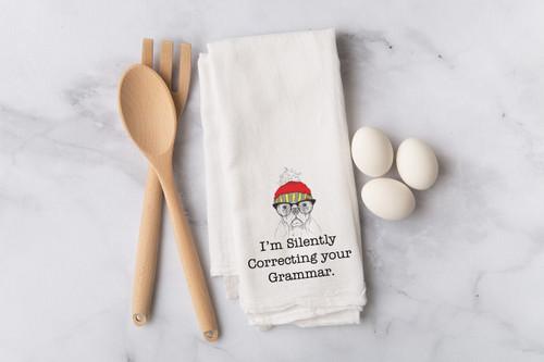 Correcting your Grammar Flour Sack Dish Towel