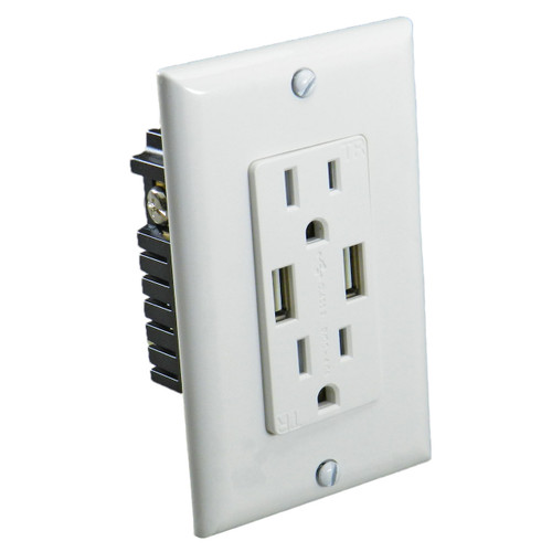 USB Charger Device - 15 amp Duplex Outlet with USB Outlet - SALE 35% off