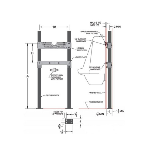 402 Urinal Carrier Line Drawing