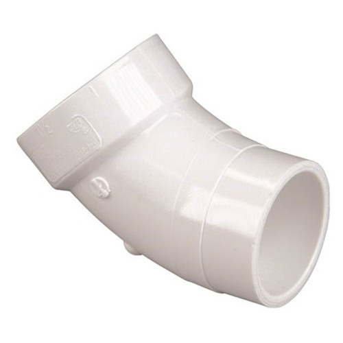 "1-1/2"" PVC DWV 45 Degree Street Elbow (1/8 Bend Hub x Spigot) - Contractor Pack"