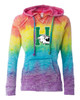 Harrison Ladies V Notch Stripe Tie Dye Hoodie